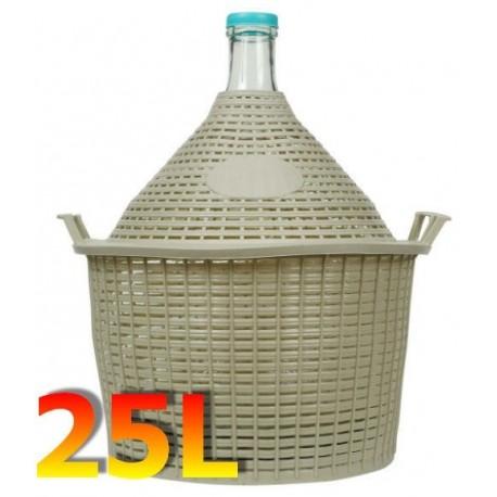 Balon do wina 25 L w koszu plastikowym